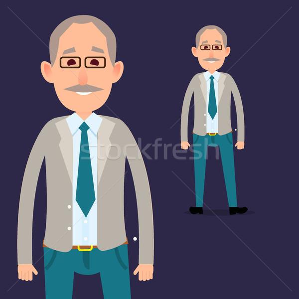 Vieux Homme personnage moustache illustration gris Photo stock © robuart