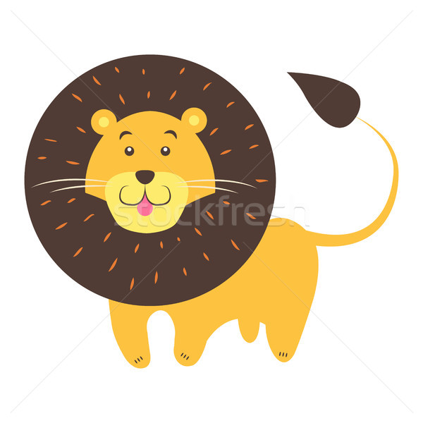 Cute Lion Cartoon Flat Vector Sticker or Icon Stock photo © robuart