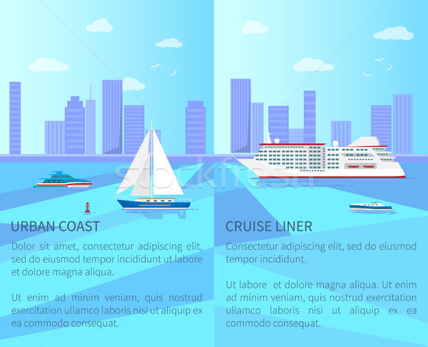 Urban Coast and Spacious Cruise Liner Posters Stock photo © robuart