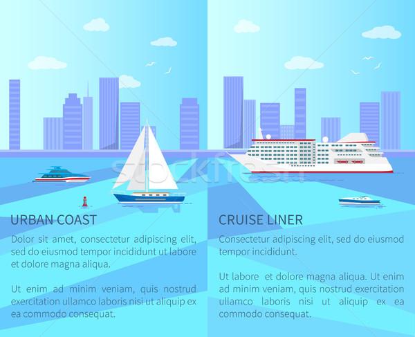 Stedelijke kust ruim cruise posters zeilboot Stockfoto © robuart