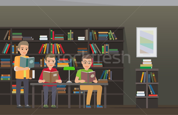 Students Reading Textbooks in Library Flat Vector  Stock photo © robuart