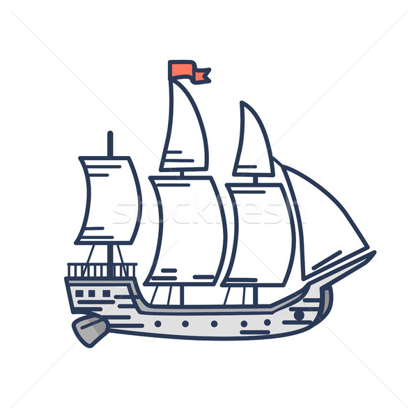 Old Wooden Ship with Red Flag Outline Illustration Stock photo © robuart