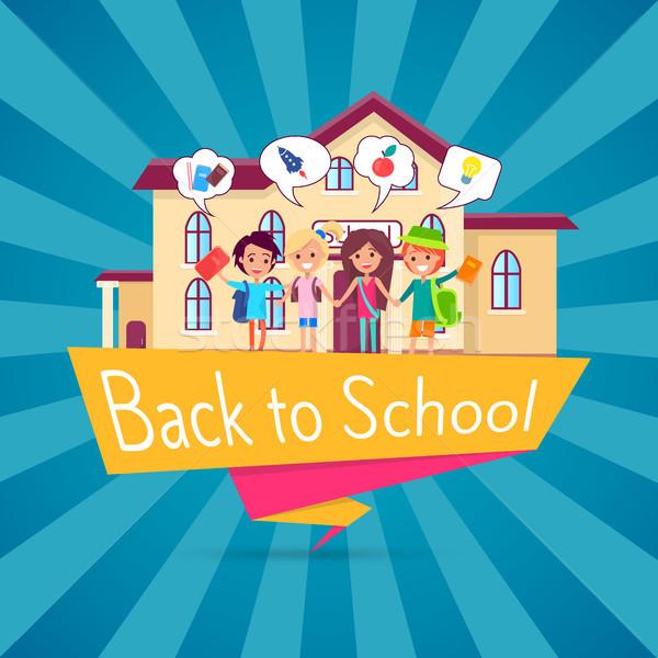 Terug naar school sjabloon poster klein studenten permanente Stockfoto © robuart