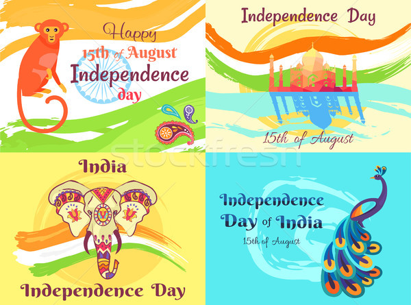 Independence Day on 15th of August Posters Set Stock photo © robuart