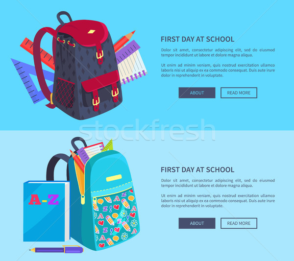 First Day at School Poster with Schoolbag and Book Stock photo © robuart