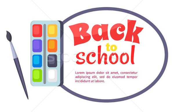 Back to School Poster with Watercolor Paints Stock photo © robuart