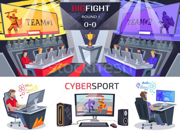 Nagy verekedés poszter elektronikus számítógépes játékok bajnokság Stock fotó © robuart