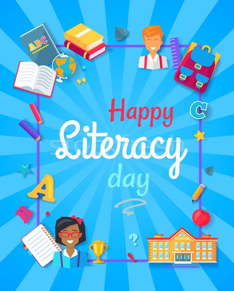 Boldog műveltség nap poszter nagy promóciós Stock fotó © robuart