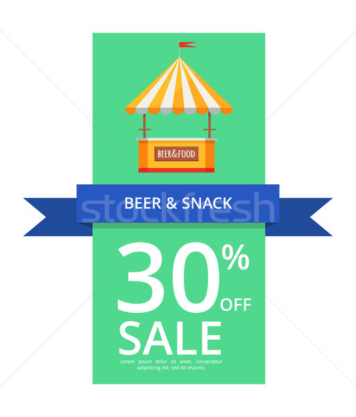 Beer and Snack 30 Off Sale Vector Illustration Stock photo © robuart