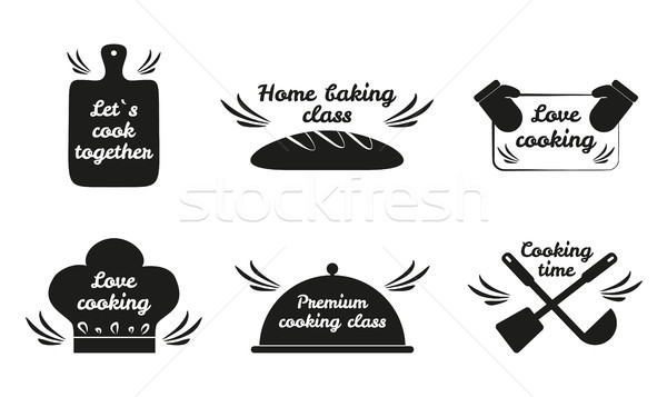 Stock photo: Lets Cook Together Icon Set Vector Illustration
