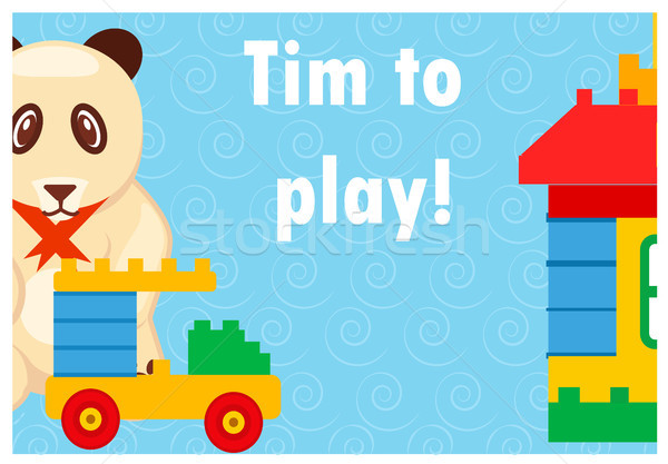 Time to Play Colorful Poster with Toys on Blue Stock photo © robuart