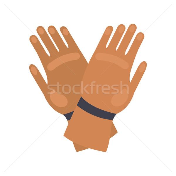 Fogo luvas de borracha isolado branco dois mãos Foto stock © robuart