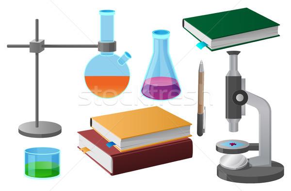 Naukowy narzędzia ilustracja szkoły odizolowany biały Zdjęcia stock © robuart