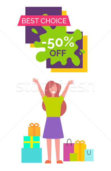 Legjobb választás 50 nő szalag zöld póló Stock fotó © robuart