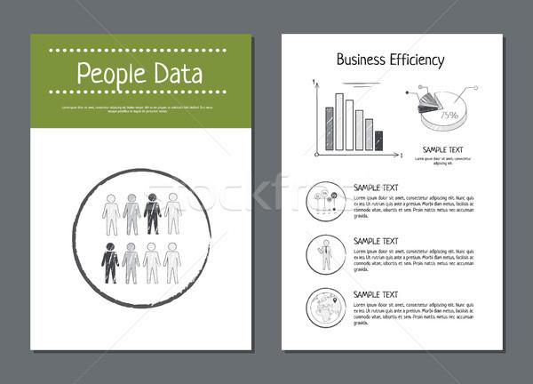 Mensen gegevens rendement business posters monster Stockfoto © robuart
