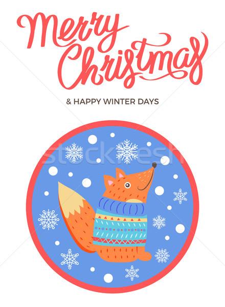 Allegro Natale inverno vettore Fox maglione Foto d'archivio © robuart