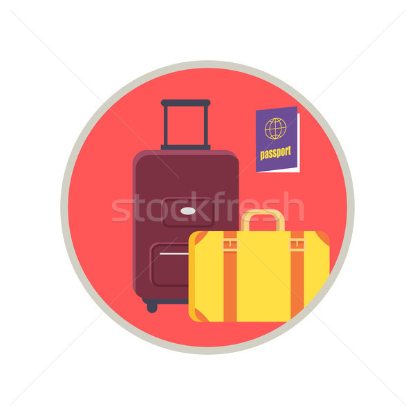 Baggage and Passport Icon Vector Illusration Stock photo © robuart