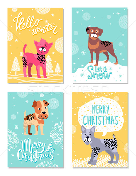 Olá inverno neve alegre natal pôsteres Foto stock © robuart