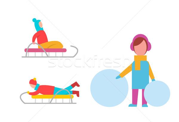Childrens Winter Activities Vector Illustration Stock photo © robuart