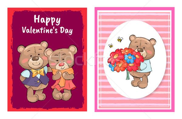 Photo stock: Heureux · saint · valentin · affiche · Teddy · bouquet