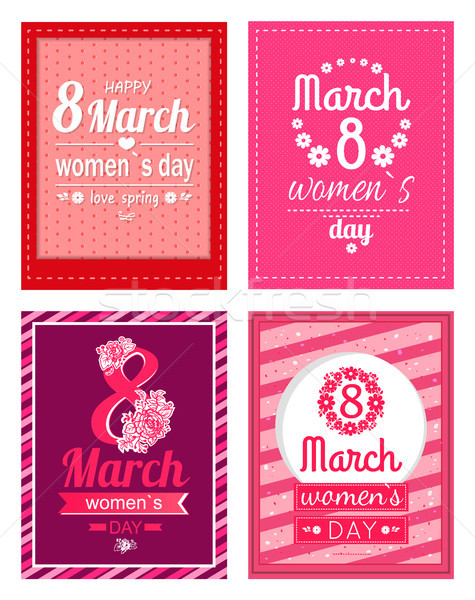 Set of Poster with Congratulations on Women s Day Stock photo © robuart