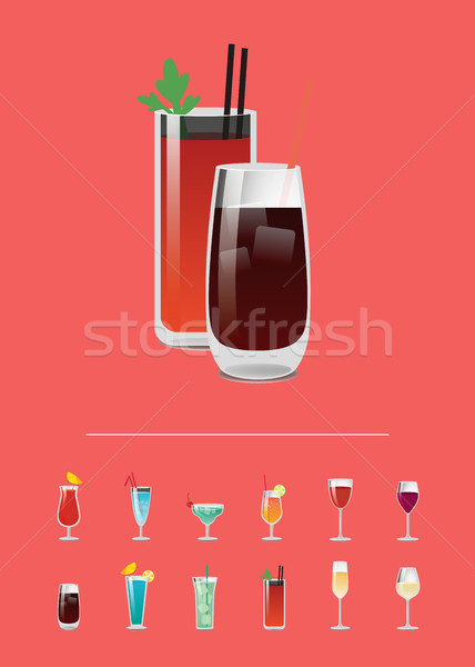 Banner with Varied Cocktails Vector Illustration Stock photo © robuart