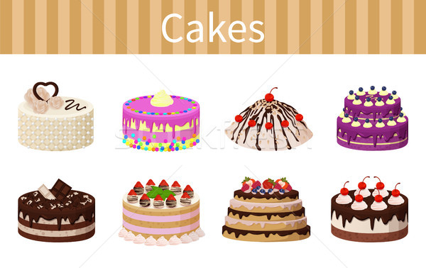 Various Delicious Desserts Vector Illustration Stock photo © robuart