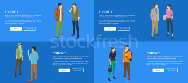 Students Banners with Blue Background and Text Stock photo © robuart