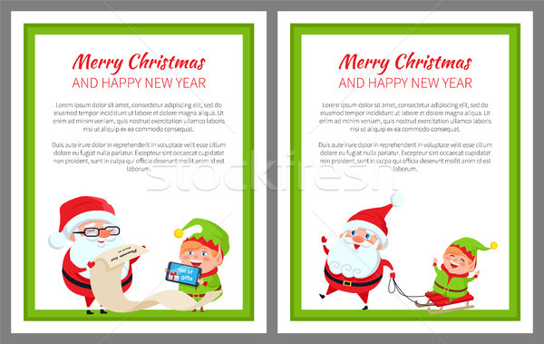 Merry Christmas Happy New Year Bright Poster Stock photo © robuart