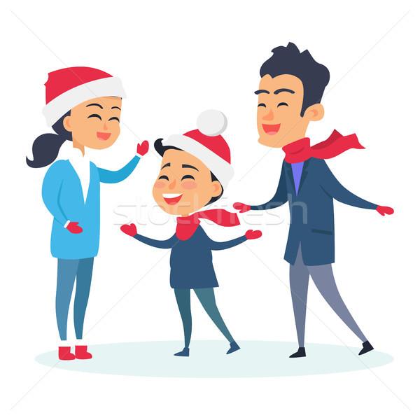 Foto stock: Familia · feliz · caliente · ropa · blanco · familia · nino