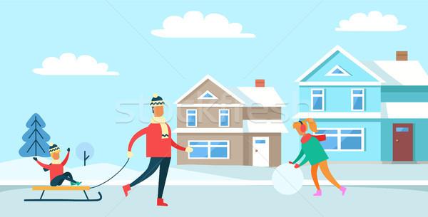 Winter Recreation Family, Vector Illustration Stock photo © robuart