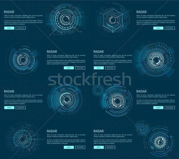 Radar kolekcja tekst próba nagłówki przyciski Zdjęcia stock © robuart