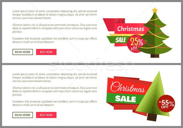 Christmas sprzedaży kup teraz plakaty dwa promocji Zdjęcia stock © robuart