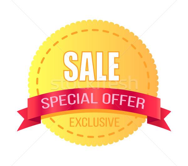 Exkluzív akció vásár promóció poszter citromsárga Stock fotó © robuart