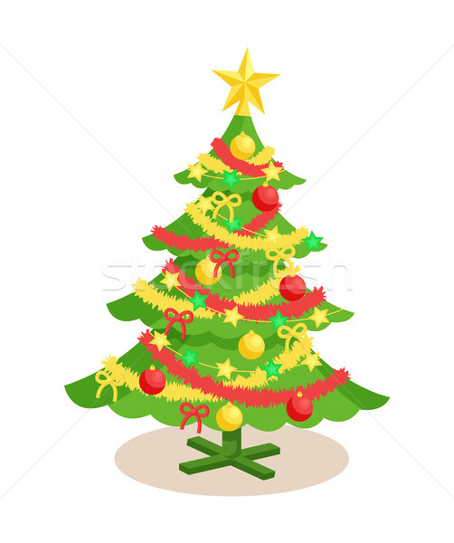 Decorated Christmas Spruce Vector Illustration Stock photo © robuart