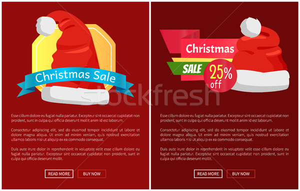 Xmas Sale Santa Claus Hats on Promo Labels Vector Stock photo © robuart