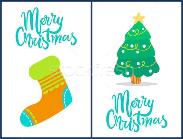 Vrolijk christmas sok boom ingesteld composities Stockfoto © robuart