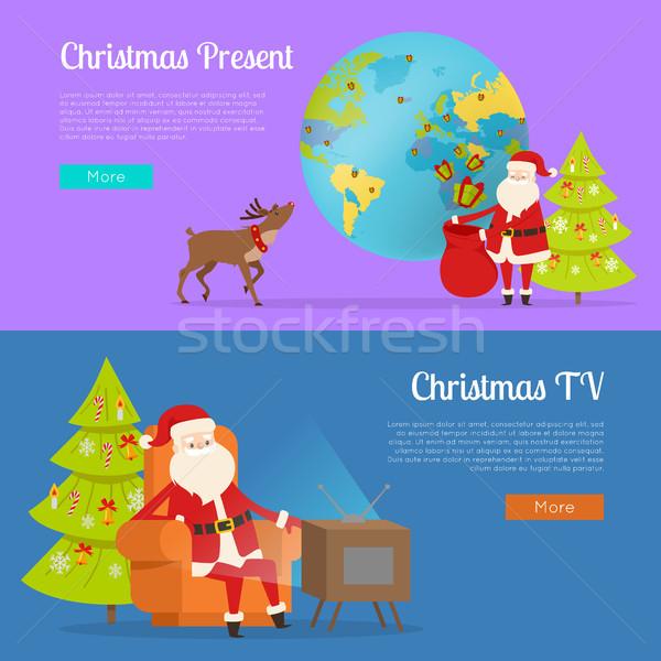 Christmas Present and TV Programme with Santa Stock photo © robuart