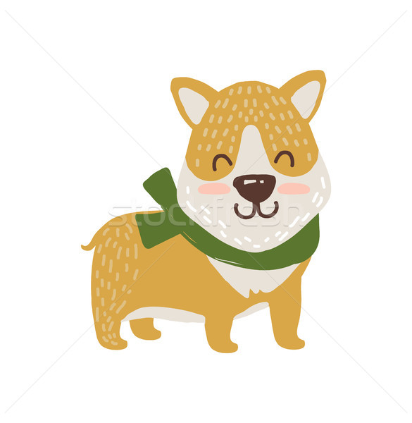 Happy Dog in Scarf Icon Vector Illustration Stock photo © robuart