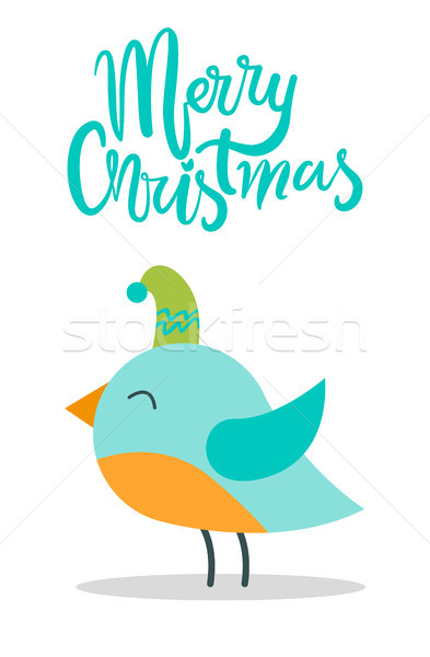 Merry Christmas Greeting Card with Tiny Bird Hat Stock photo © robuart