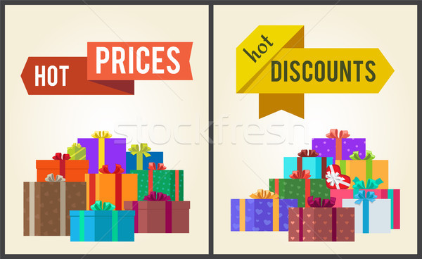 Hot Prices Discounts Clearance Sale Arrow Labels Stock photo © robuart