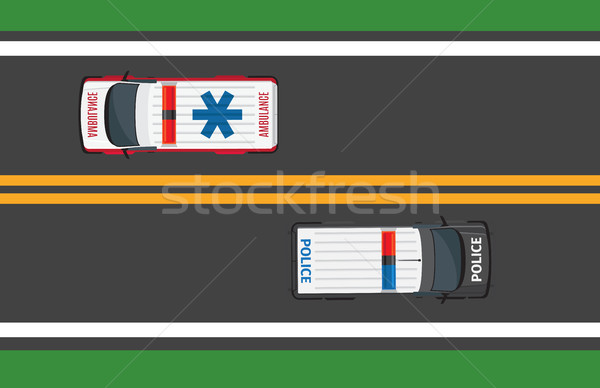 Top View of Driving Ambulance and Police Autos Stock photo © robuart