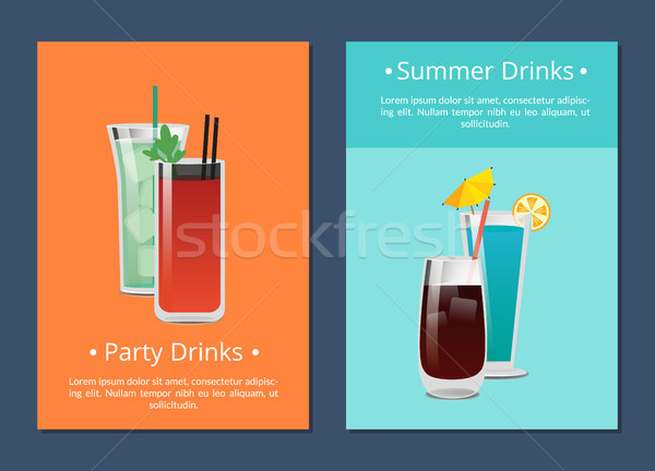 Summer Party Alcohol Drink Poster with Bloody Mary Stock photo © robuart