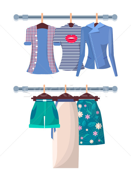 Summer Mode Poster with Fashionable Shirts Shorts Stock photo © robuart