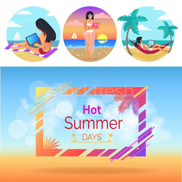 Caliente día de verano mujer establecer mujeres damas Foto stock © robuart