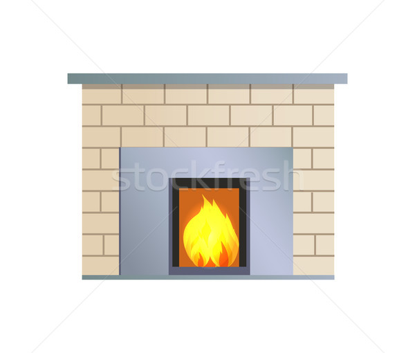 Abstract Vector Fireplace, Colorful Illustration Stock photo © robuart