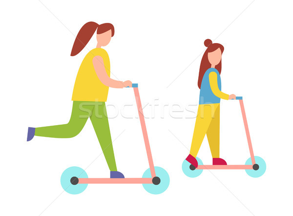 Mother and Daughter Riding Scooters Illustration Stock photo © robuart