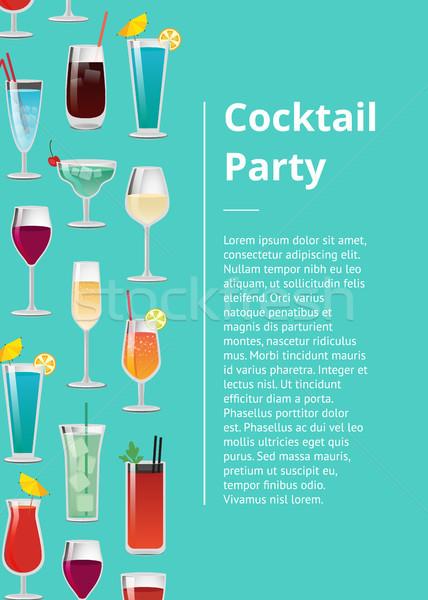 Cóctel anunciante establecer tropicales bebidas Foto stock © robuart