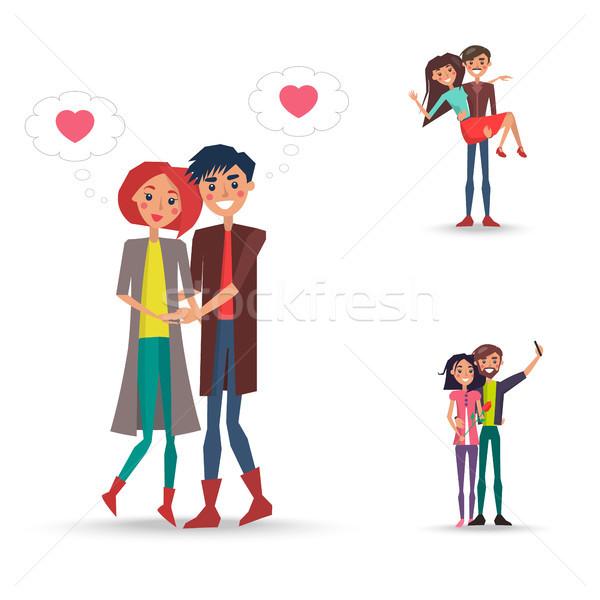 Trzy szczęśliwy pary dziewczyna chłopca różowy Zdjęcia stock © robuart