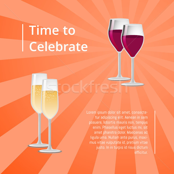 Time to Celebrate Poster with Red and White Wine Stock photo © robuart